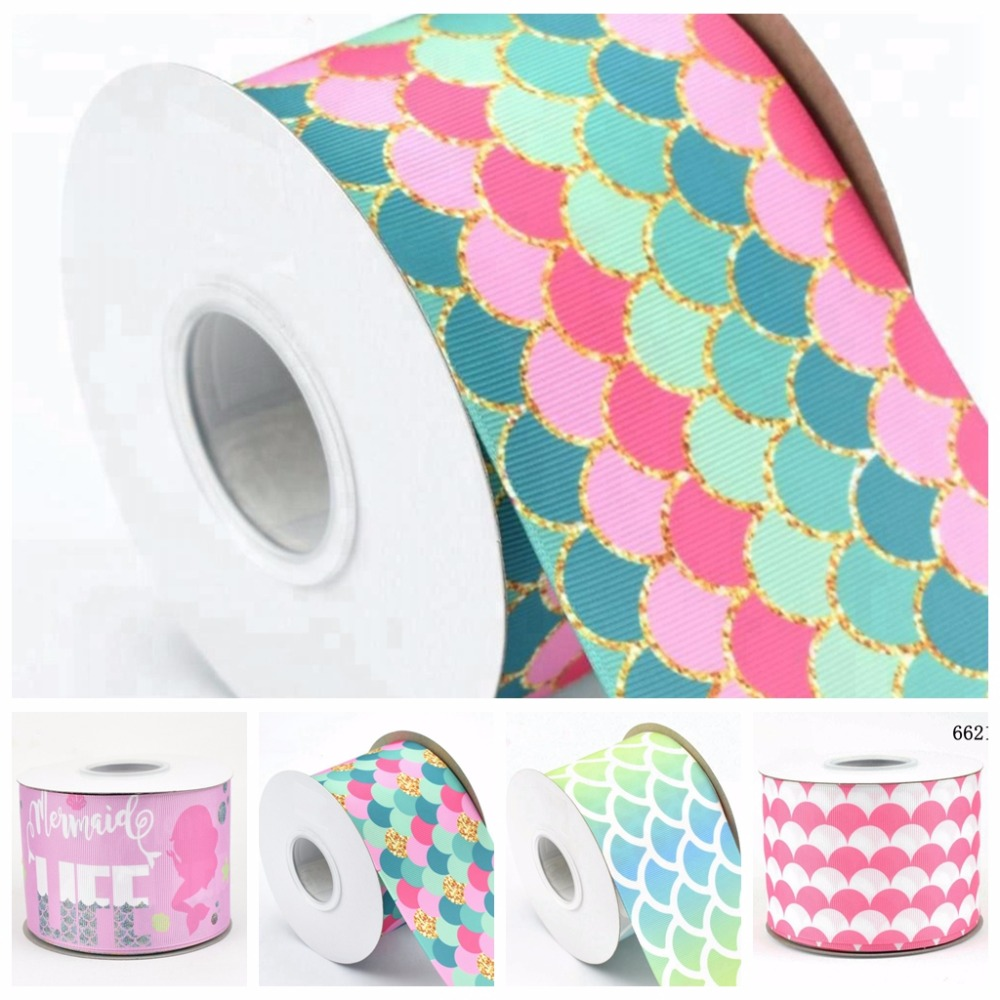 100Y lot 75mm 3 heat transfer fish scale mermaid printed grosgrain ribbon for DIY accessories welcome