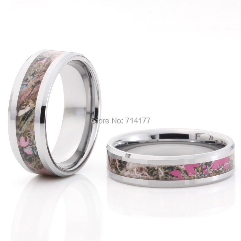 6mm 8mm newest style pink tree camo inlay tungsten wedding band comfort fit high polished - Pink Camo Wedding Rings For Her