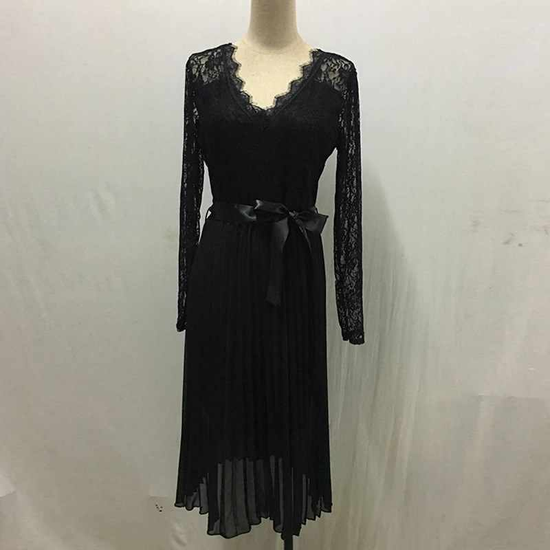 GUMPRUN Summer Casual Dress 2019 Women Lace Pleated Long Sleeve Dress Elegant Fresh Black Ribbon Hollow Chiffon Midi Dress