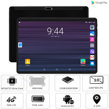 "Tempered Glass 2.5D 10 inch Tablet PC Android 8.0 Octa Core 4GB RAM 64GB ROM 1280*800 IPS 3G 4G LTE Horn Loud Tablet 10 10.1""(China)"