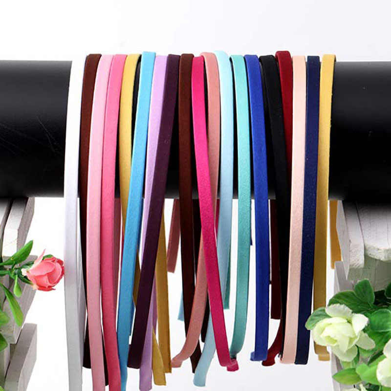 1 Gói Đồng Bằng Chắc Chắn 5 Mm Chất Liệu Vải Satin Phủ Nhựa Hairbands Thép Không Gỉ Băng Ban Nhạc Phụ Kiện Cho Người Lớn Trẻ Em quà Tặng