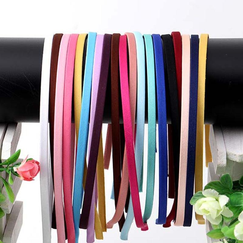10 шт. однотонные 5 мм атласная ткань покрыта смолой с головными повязками Нержавеющаясталь лента для волос аксессуары, ленты для волос, спо...