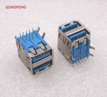 GONGFENG 100PCS NEW Hot SELL Connector USB3.0 Socket Type A base 90 degree PCB Double USB Female interface Special Wholesale