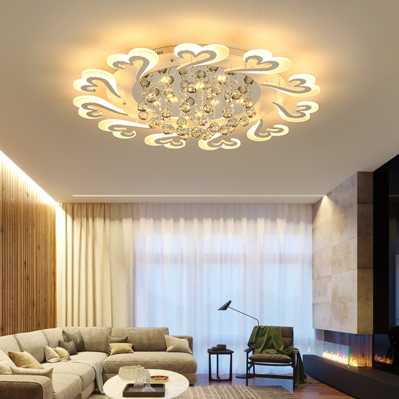 Modern Living Room Bedroom LED Ceiling Light Acrylic Crystal Ceiling Lamp Dimmable Ceiling Lighting Home Decor Lighting Fixture