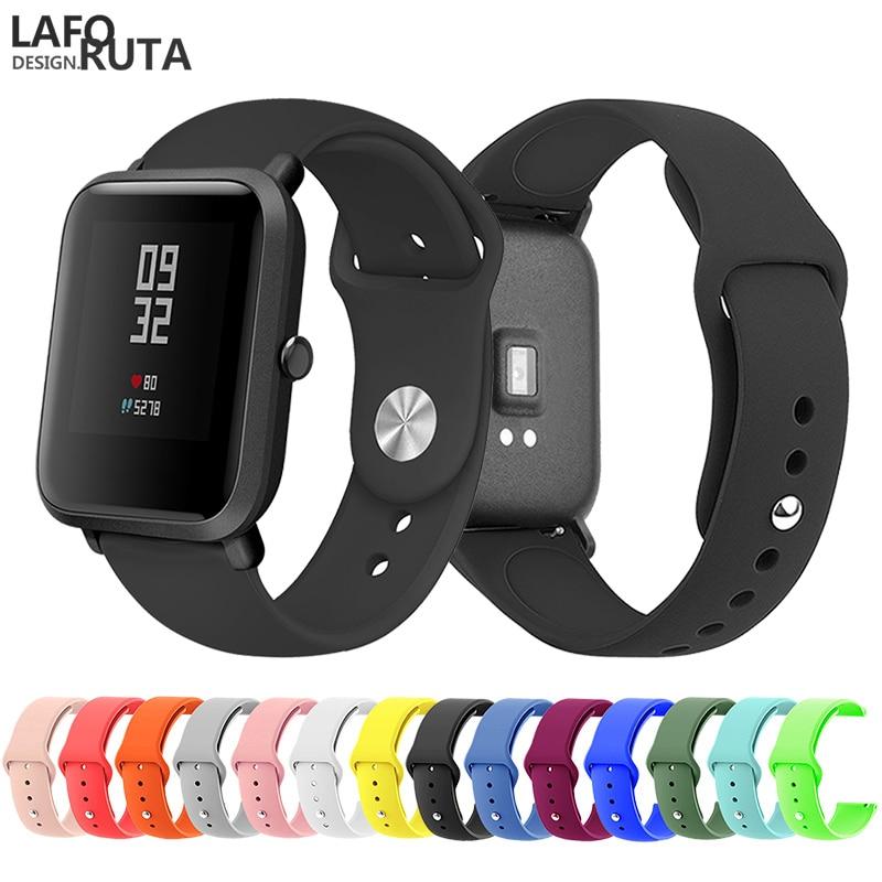 Laforuta 20mm Sport Soft Silicone Watch Band For Xiaomi Amazfit Bip Strap For Huami Amazfit Bip Bracelet Quick Release Bracelet