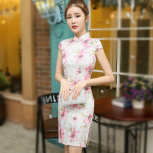 Chinese Cheongsam Qipao Dresses Short New Pattern Fashion Printing Jacquard Cotton Sleeve 3XL Casual Summer