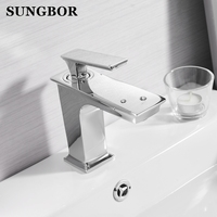 Basin Bathroom Brass Sink Mixer Tap Chrome/Black/Brushed Nickel Tap Faucet Basin Mixer Faucet Water Cold And Hot Water Tap HB 73