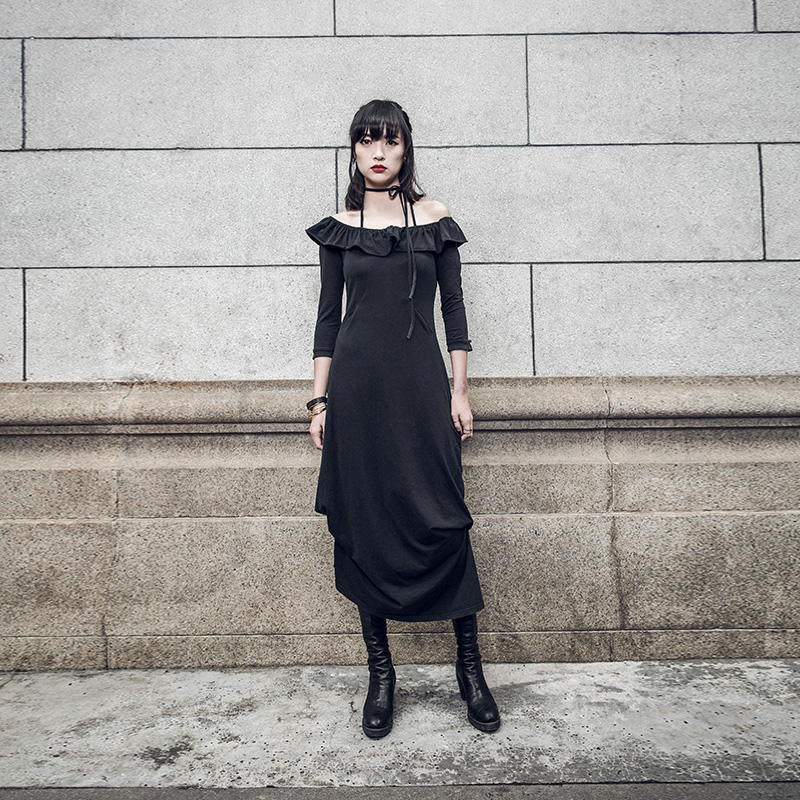 2017 Pq Stile Summer Increspature Modo Punk Nero Donna Rave Di Nuovo Long 021 Dress Del Collare XOZuiPk