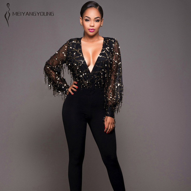 a41df2382237 Women spring sexy sequin jumpsuit tassel gold fringe party shirt bodysuit  blouse lady club tight hipster black beige romper 2019