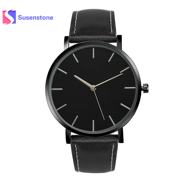 Relogio feminino Men Women Watch Business Quartz Wrist Watches Gold Faux Leather