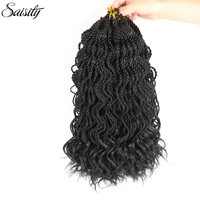 Saisity Deep Senegalese Twist Hair Curly Ends Crochet Braids Synthetic Braiding Hair Extension Senegal Twist Crochet