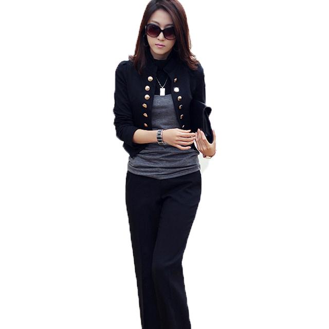 Coreano mulheres manga comprida botão fino Blazer brasão Jacket Cardigan Casual primavera e no outono fino gola dupla casaco trespassado