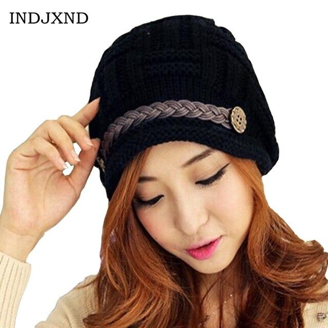 INDJXND Winter Hats Solid Color Lady s Button Caps Acrylic Warm Stripe  Woman Headwear Good Quality Women 9ca0c8c9972c