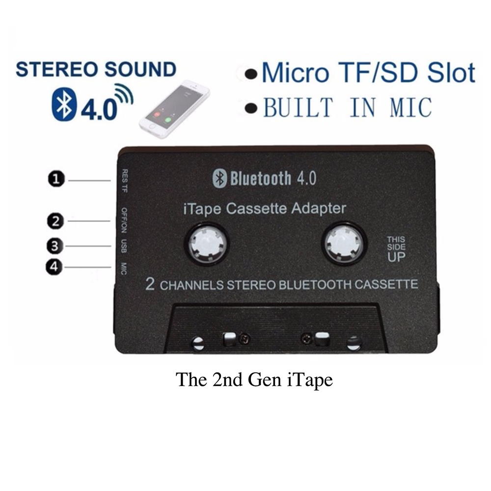 Nyaste trådlösa iTape CSR Bluetooth V4.0 + EDR Stereo Audio Cassette Player Receiver Adapter kan fungera under laddning för bildekal