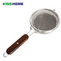 Coffee Baked Bean Net Filter Spoon Stainless Steel Coffee Beans Baking Fried Nets With Black Rosewood Handle Coffee Accessrioes