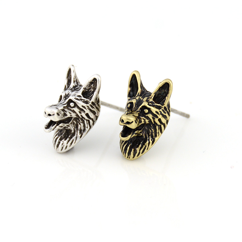 Vintage German Shepherd Dog Pet Stud Earring Punk Dogs Brincos Love Earrings For Women Jewelry Christmas Gift Black Friday Deals