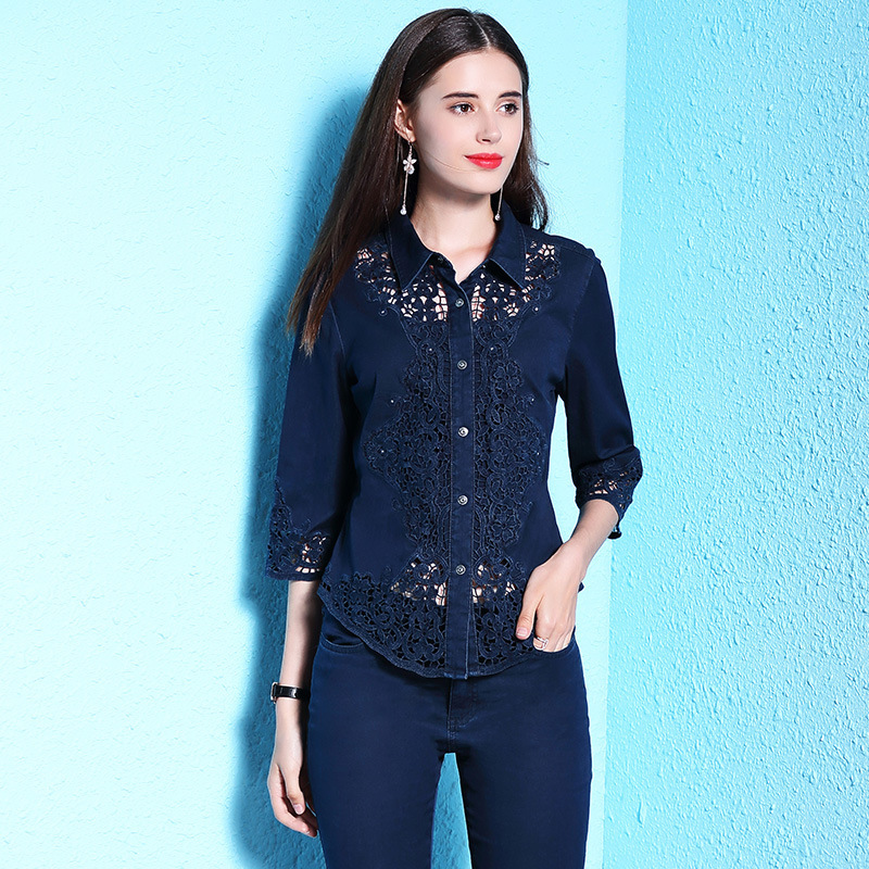 G495017 Women Blouse Lace Shirt Female Long sleeved Spring V neck Temperament Blouse Shirt Solid Causal Tops - 3