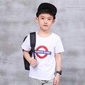 Pioneer niños moda fresca carta de impresión de los niños camisetas de algodón 2016 nuevo Verano Del Muchacho Adolescentes Tops Camisetas pokemon go boy t shirt