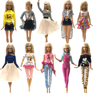 NK 2020 Newest Doll Dress Fashion Casual Wear Handmade Girl Clothes For Barbie Doll Accessories DIY Toys Baby Doll G1 JJ(China)