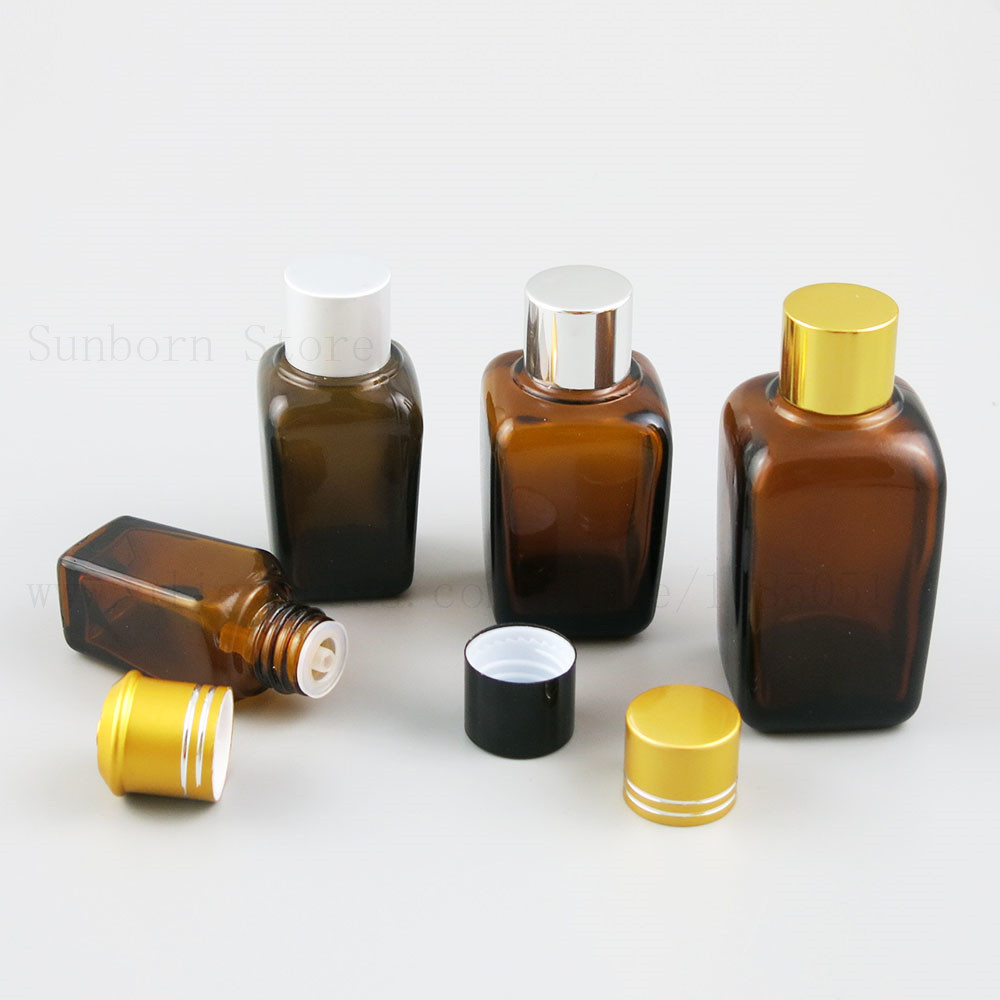 10ml <font><b>25ml</b></font> 35ml 50ml 100ml Square Amber Glass Bottle Empty e liquid Perfume Essential Oil Bottles <font><b>containers</b></font> Vials 20pcs image