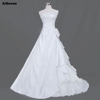 Sexy Strapless White A Line Wedding Dress Long Elegant Wedding Dresses Lace Beaded Satin Bridal Gowns Cheap Chic robe de mariee