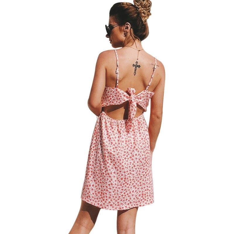 LLPJ181012-13 Для женщин \ лето FlDress Сексуальная спинки Спагетти ремень Кнопка бантом сарафан платья без рукавов