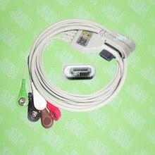 Совместимость с GE ГЭЭ СВЕТ 2008594-003 холтеровское пациента цельный 5 ЭКГ кабель и leadwire, iec или aha, snap или клип.