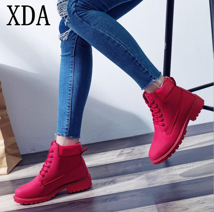 XDA 2019 Women's Winter Fur Brand Martin Boots Women Cute red Boots Quality Work Boots Flat Heel Ankle Boots Women shoes F870 1
