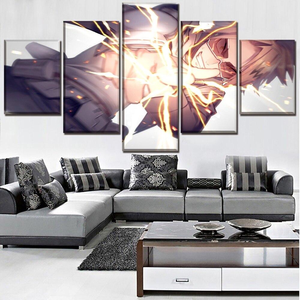 Modern Painting 5 Pieces Anime My Hero Academia Denki Kaminari Pictures Canvas Art Printed One Set Poster Home Decor Framework