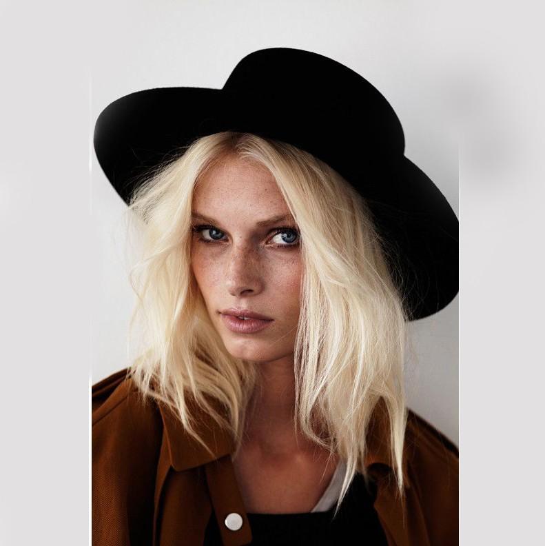 Nuovo Modo di Lana Pork Pie Paglietta Flat Top Cappello Per Le Donne degli uomini di Feltro A Tesa Larga Fedora Cappello di Gambler
