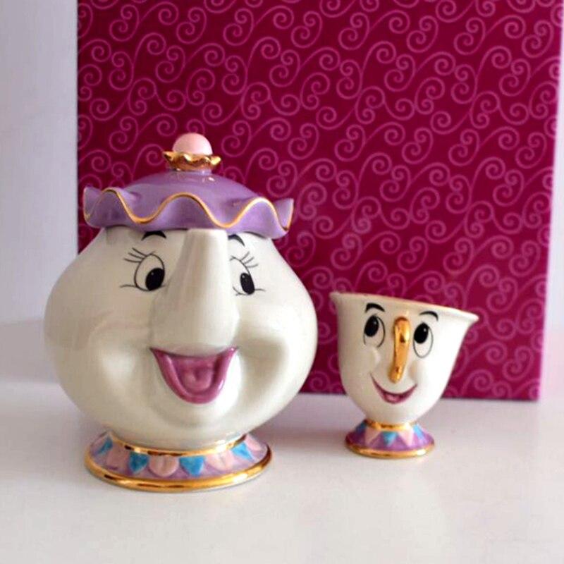 새로운 아름다움과 야수 부인 potts 칩 차 주전자 & 컵 세트 주전자 머그잔 (냄비 & 컵) 친구 크리스마스 선물-에서찻주전자부터 홈 & 가든 의  그룹 1