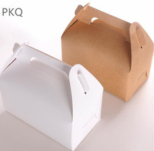 30pcs Wholesale Kraft Paper Favor Box White Cupcake Boxes Brown Paper Cupcake Packing Cake Boxes Large Gift Box with handle