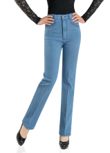 New Winter Middle-aged Lady High Waist Jeans Bigger Sizes Straight Stretch Mom Jeans Denim Trousers