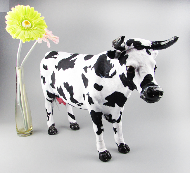 large 53x30cm simualtion cow toy model plastic& furs dairy cow hard model home decoration Xmas gift w5776