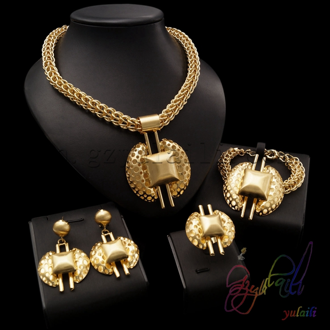 Free Shipping Hot Gold Color Chunky Jewelry set Wedding African Jewelry Sets Fashion Jewellery set for Bridal free shipping china manufacturer sell jewelry set italian gold color jewelry sets bridal elegant jewelry set