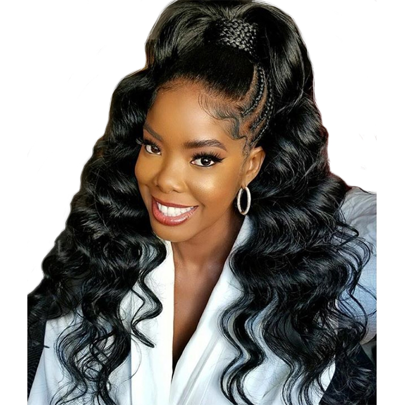 Loose Wave Glueless Full Lace Wigs With Baby Hair Bleached Knots 180 Density For Women Black Peruvian Remy Human Hair You May