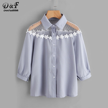 Dotfashion Flower Lace Insert Shirt Blue Lapel Equipment Button Woman Top And Blouse 2017 Autumn 3/4 Sleeve Cute Blouse(China)