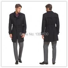 Новое Поступление зима Британский Стиль Классический Черный Траншеи Пальто Мужчины Долго 4 кнопки с поясом 100% кашемир и пиджаки пальто мужчины