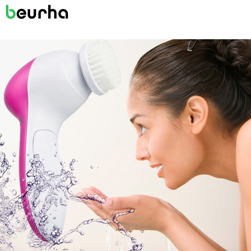 5 in 1 Electric Face Wash Machine Beurha Facial Pore Cleaner Body Cleaning Massage Mini Skin Care Beauty Massager Brush 1 Set цена и фото