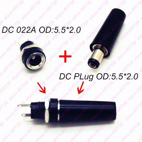10PCS DC Power Connector Pin 2.1x5.5mm Female Plug Jack + Male Plug Jack Socket Adapter DC-022A