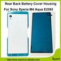 Ультра тонкий Дверь Дело Корпус Задняя Крышка Батарейного отсека Стекла задняя Дверь + Клейкая Лента Для Sony Xperia M4 Aqua E2333 E2353 E2303