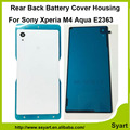 Ultra thin Door Case Housing Back Battery Case Cover Glass Rear Door+Adhesive Tape For Sony Xperia M4 Aqua E2333 E2353 E2303