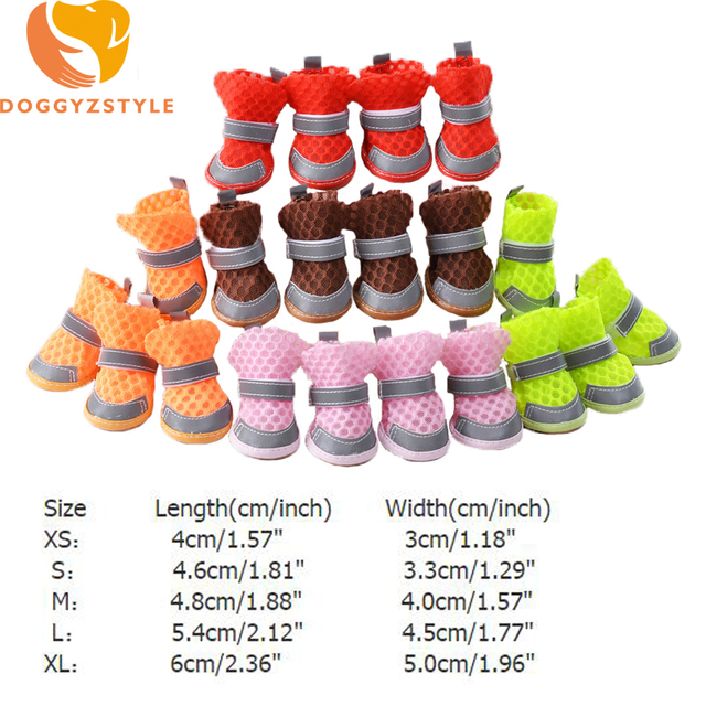 4pcs/Set Pet Dog Shoes Goods Breathable Reflective  Booties For Small Dogs Teddy Chihuahua Pets Accessories Supply DOGGYZSTYLE