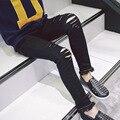 Outono Meninas Crianças Coreano Buraco Alta Estiramento Calças Jeans Crianças Calças Demin Preto Azul Escuro