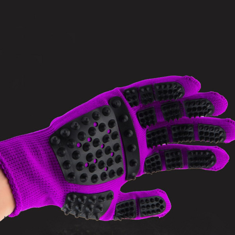 Set of Pet Grooming Gloves for Animal Hair Removal for Dogs and Cats Made of Synthetic Fiber with Soft Tips Useful for Cleaning of Pets 3