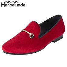Мужские повседневные туфли без застежек красные бархатные лоферы
