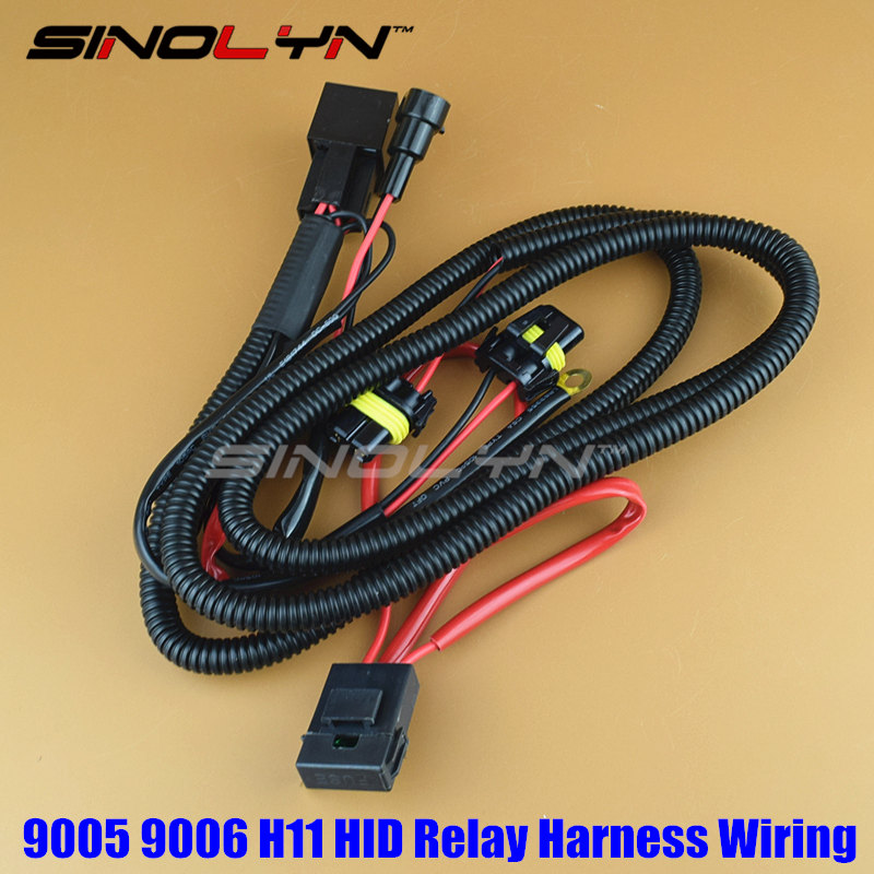 Sinolyn 12V 35W/55W 9005 9006 H11 HID Xenon Bulbs Relay Harness Wiring Wire Single Beam With Fuse Car Styling