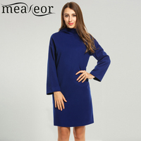 Meaneor Brand Winter Dress Women Wool Blend Warm Dress Turtleneck Long Sleeve Solid Brief Shift Dress With Pockets and Lining