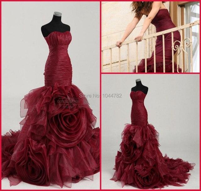 Dark Red Organza Strapless Mermaid Dress