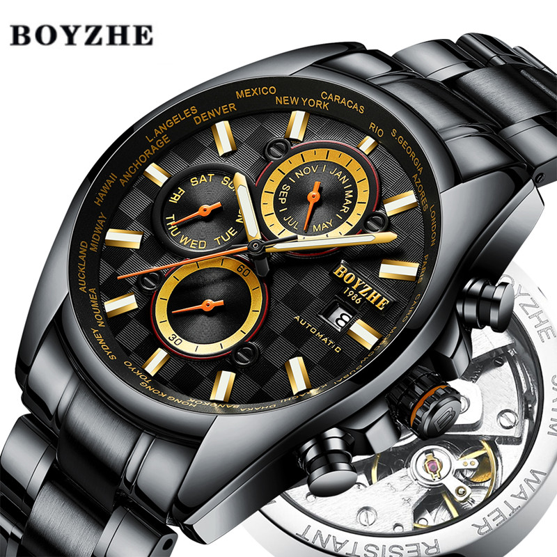 BOYZHE New Men Automatic Mechanical Watch Black Waterproof Sports Luxury Brand Fashion Stainless Steel Watches Relogio Masculino|Sports Watches| |  - title=